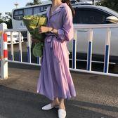 純色短袖連衣裙女夏2018新款韓版學生氣質百搭系帶收腰中長款裙子 艾尚旗艦店