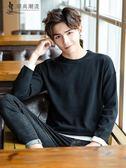 打底毛衣 秋季男士毛衣男韓版純色薄款線衫修身個性圓領針織衫打底衫男裝潮 珍妮寶貝