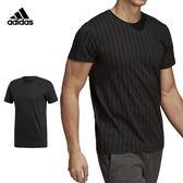 Adidas Pinstripes Tee 男 黑 運動上衣 短袖 細條紋 愛迪達 運動上衣 棉T 大學T 短袖上衣 DI0267