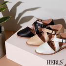 低跟鞋-HERLS 輕恬優雅 全真皮交錯...