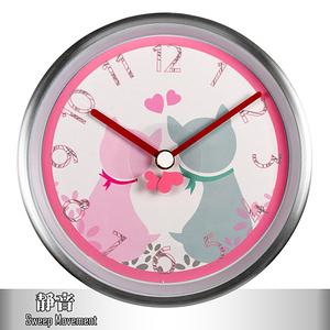 【HANDLE TIME】甜心貓咪金屬靜音掛鐘-甜蜜白