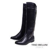 ★零碼出清★Tino Bellini 俐落中性拉鍊線條平底長筒靴(黑)_IN1124 2015AW 網路限定價