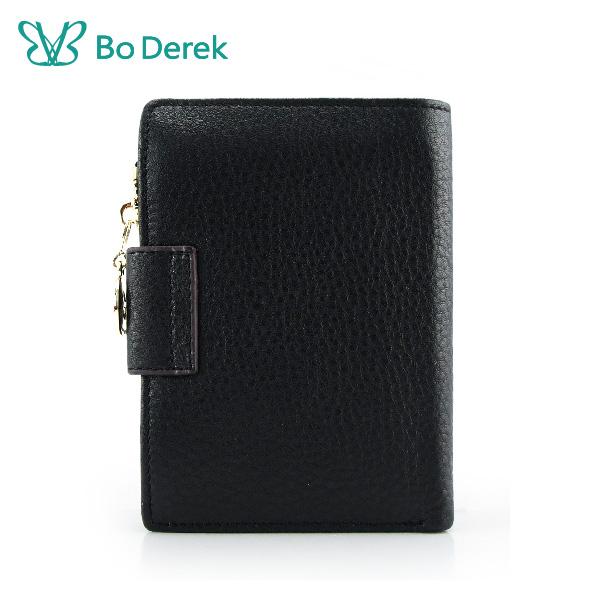 Bo Derek 荔枝紋牛皮釦式短夾-黑色