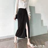 窄裙 褶皺垂感開叉顯瘦黑色女夏款中長款一步直筒設計感高腰半身裙 新年钜惠
