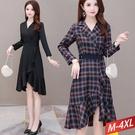 西裝領腰封魚尾裙洋裝(2色) M~4XL...