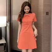 2020夏季新款韓版polo領甜美收腰氣質顯瘦小個子清新森系連衣裙女「草莓妞妞」