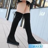 膝上靴 內增高彈力過膝靴2020秋冬新款長靴顯瘦厚底長筒靴圓頭超高跟女靴 漫步雲端