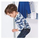 男童 純棉長袖T恤-藍迷彩