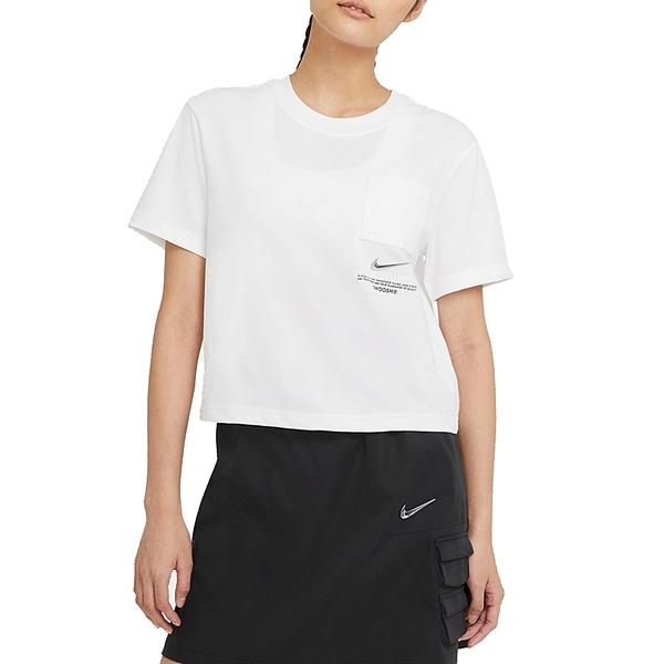 NIKE NSW SWSH SS TOP 白 女 短版 口袋 休閒 短袖T恤 CZ8912100