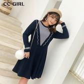 中大尺碼 氣質大V深藍色洋裝 - 適XL~5L《 67141H 》CC-GIRL