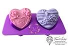 心動小羊^^波浪愛心LOVE玫瑰2孔皂模耐高溫矽膠果凍、巧克力、蛋糕、蠟燭模