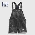 Gap 女童 做舊風格深色牛仔吊帶短褲 574981-黑牛仔