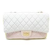 CHANEL 香奈兒 灰/黃/粉紅帆布肩背包 Grosgrain 2.55 Reissue Flap Bag 【二手名牌BRAND OFF】
