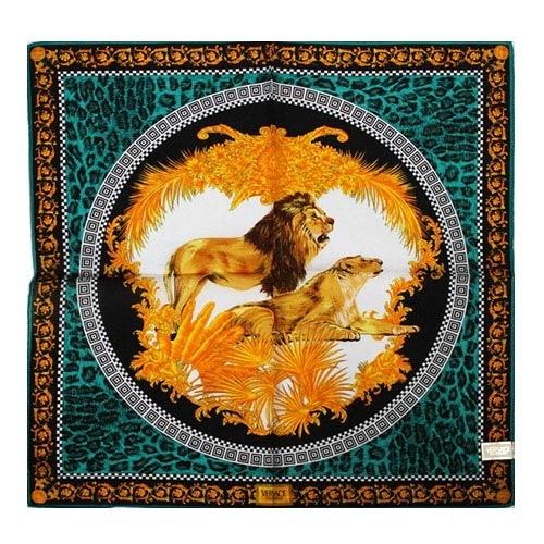 VERSACE古典獅子圖紋純棉手帕領巾(藍綠色)989017-26