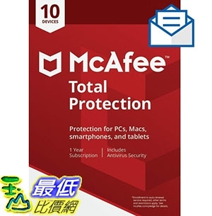 [8美國直購] 暢銷軟體 McAfee Total Protection|Antivirus| Internet Security| 10 Device| 1 Year Subscriptio