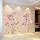 3d立體墻貼畫仿真花朵客廳電視背景墻面裝...