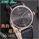 MOMENT  簡約超薄復古情侶錶  皮帶  舜時  男錶 女錶 對錶  【KIMI store】