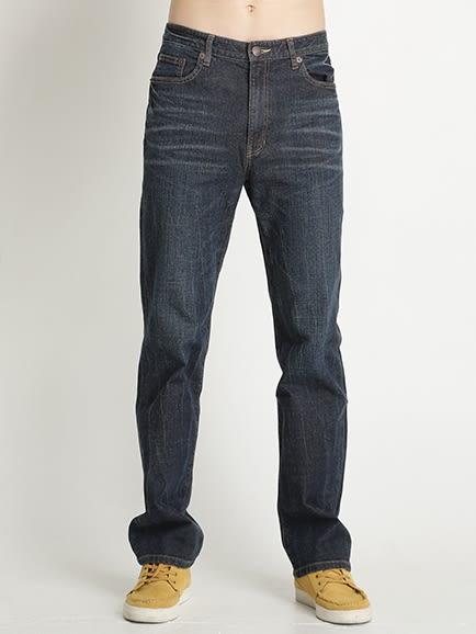 BOBSON 男款伸縮直筒褲(藍1178A-53)
