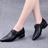 尖頭低跟鞋小皮鞋女秋季新款粗跟扣帶平底工作鞋女舒適低跟尖頭深口單鞋 新年禮物