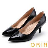 ORIN 典雅氣質 素面造型裁羊皮百搭尖頭高跟鞋-黑色