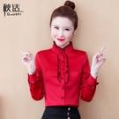 紅色雪紡襯衫女裝春裝2021年早春新款潮時尚洋氣打底上衣氣質小衫
