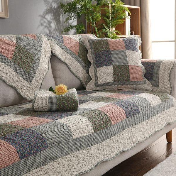 沙發罩-四季全棉防滑沙發墊布藝純棉簡約冬季田園坐墊組合通用皮沙發巾套 依夏嚴選