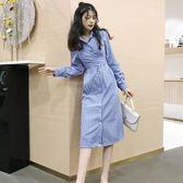 早秋女裝新款氣質條紋蝴蝶結系帶收腰長袖中長款側開叉襯衫連衣裙