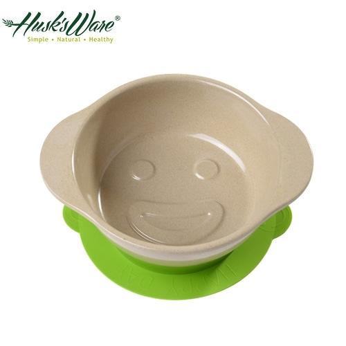 【南紡購物中心】【美國Husk's ware】稻殼天然無毒環保兒童微笑餐碗-綠色
