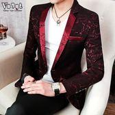 男士個性加厚西服男社會人夜場西裝潮流繡花單西韓版男裝休閒外套
