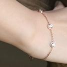 玫瑰金鑲鑽純銀手鍊-生日禮物時尚精美流行飾品71ah3【巴黎精品】