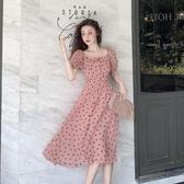 短袖洋裝 春秋新品法式波點短袖連衣裙女裝氣質法式桔梗裙仙女裙子 - 歐美韓熱銷