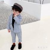 男寶寶春秋季休閒西裝套裝新款男童中小童出席禮服洋氣兩件套XL1756【東京衣社】