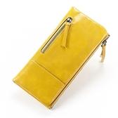 皮夾(長夾)-純色油蠟皮歐美時尚復古女零錢包3色73eb61【時尚巴黎】