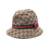【台中米蘭站】全新品 GUCCI GG滿版logo緹花布漁夫帽-M(411790-卡其)
