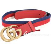 GUCCI Sylvie Web 雙G仿舊銅金織帶拼接小牛皮腰帶(紅色) 1820623-54