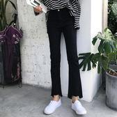 售完即止-毛邊黑色牛仔褲高腰顯瘦微喇叭九分褲女10-11(庫存清出T)
