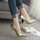 高跟鞋 10cm尖頭高跟鞋細跟百搭性感職業中跟銀色單鞋女鞋 綠光森林