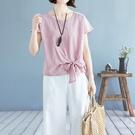 棉麻T恤 純色綁帶文藝亞麻棉麻上衣女裝夏季寬鬆顯瘦大碼半袖百搭短袖t恤-Ballet朵朵