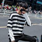 春季ins男士韓版長袖T恤假兩件港風黑白條紋潮流加肥加大碼寬鬆胖