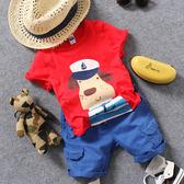 夏季兒童紅色卡通小狗船長短袖T恤男童女童寶寶半袖【開學季88折促銷】