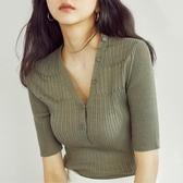 短袖針織上衣 冰絲針織衫女夏顯瘦秋季薄款v領短款小香風修身短袖上衣-Ballet朵朵