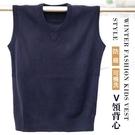 【大盤大】V2-335 針織 防縮 深藍 可機洗 SS號 毛衣背心 套頭 素面毛衣 馬甲 大童 國小學生制服