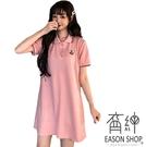 EASON SHOP(GW6040)實拍小蜜蜂刺繡撞色拼接POLO領短袖傘狀A字T恤裙連身裙洋裝女上衣服席上裙短裙