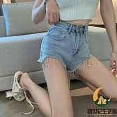 牛仔超短褲女春季高腰闊腿寬鬆顯瘦重工流蘇褲子【創世紀生活館】