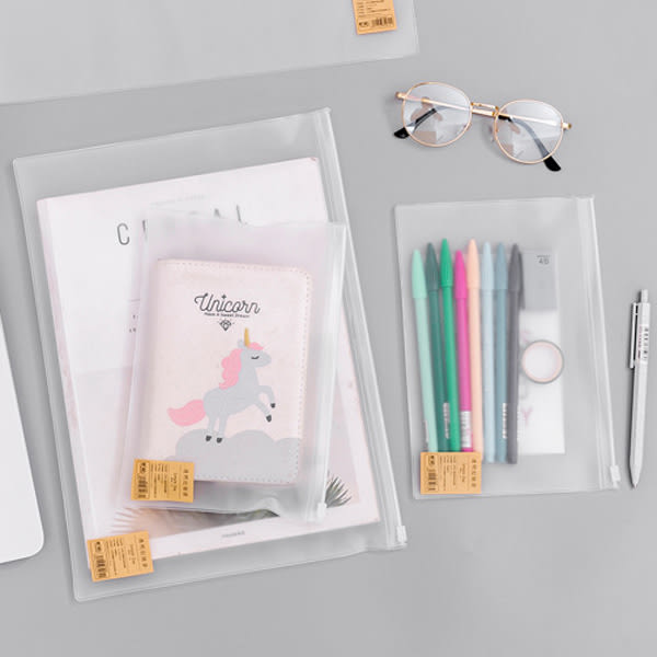 【BlueCat】簡約風格磨砂霧面A5夾鏈袋 收納袋 文具袋 (22*14.9cm)