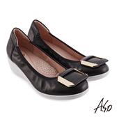 A.S.O 時尚流行 紓壓氣墊飾釦羊皮直套底台休閒鞋 黑