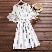 森女系洋裝 森女系夏季棉麻中長裙收腰小個子碎花連身裙白色女夏裙子-Ballet朵朵
