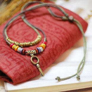 雙層油麻繩藏飾藏銀桃木中長款項鏈