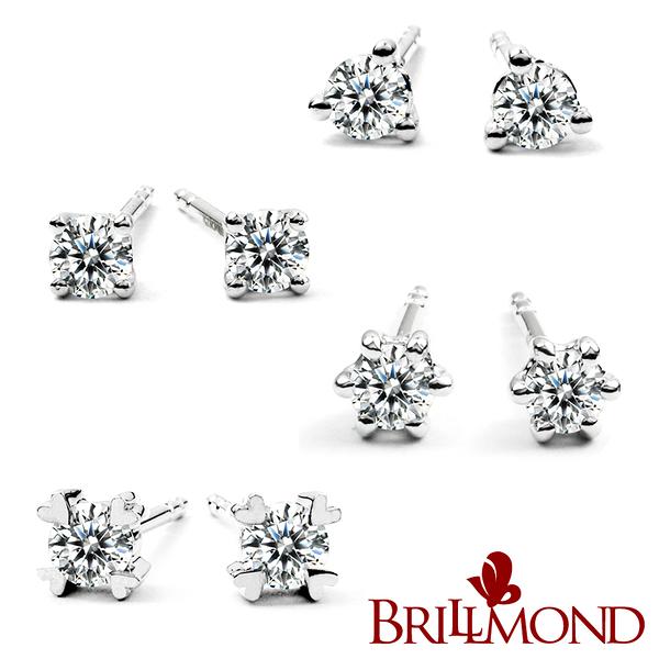 【BRILLMOND】經典20分鑽石耳環-多款任選(18K金台+10分鑽X2)