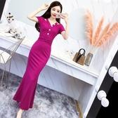 夏季新款韓版女裝V領短袖修身包臀魚尾洋裝晚禮服長款長裙